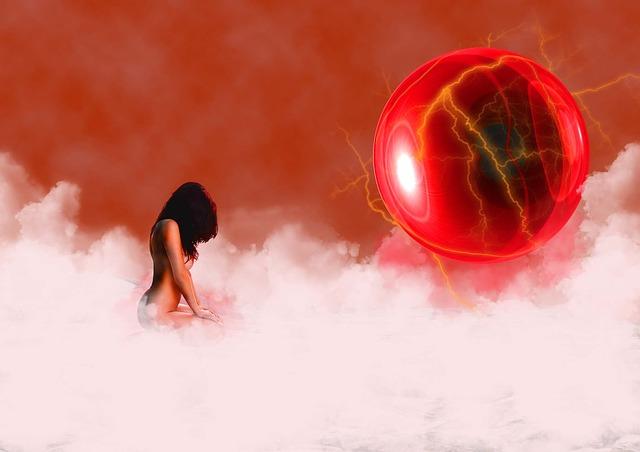 Abstraktný obrázok ženy, ktorá sedí na červenom oblaku.jpg