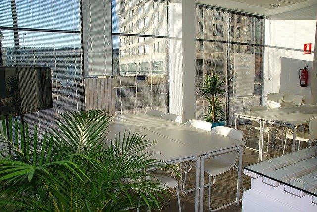 Miestnosť s presklenými dverami a rastlinami